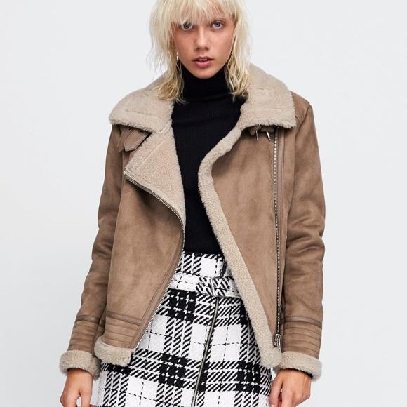d17c20b2 Zara Jackets & Coats   Contrasting Faux Suede Jacket   Poshmark